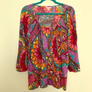 Lilly Pulitzer colorful sheer sweater